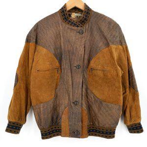 VTG Pelle NY Leather Patchwork 80s Bomber Jacket S